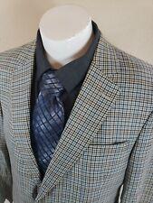 Jos A Bank 43L Sport Coat Blazer Plaid Check 2 Button Silk Wool P1
