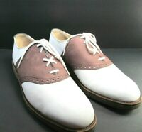 Cole Haan Mens Brown/Off White/Gray Suede Brogue Saddle Oxfords Size US 10.5 D