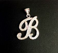 """NEW!! 925 Sterling Silver CZ Letter Initial """"B"""" Pendant Necklace"""
