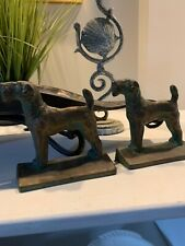 Vintage Cast Airedale Terrier Dogs Canines Bookends Bronze statue