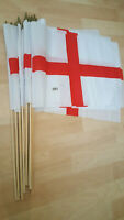 """12 x ST GEORGE ENGLAND FLAGS ON WOODEN STICKS 12"""" x 18"""""""