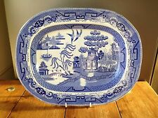 c1834-59 PODMORE WALKER & CO PRE WEDGWOOD 15.75 INCH OLD WILLOW MEAT PLATTER PW