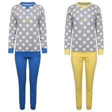 Womens Ladies 100% Cotton Pyjamas Set Lounge Long Sleeve Pjs Polkadot Nightwear