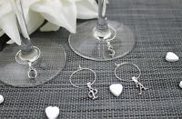 Personalised Silver Plated Letter Wine Glass Charm Birthday, Hen Party, Wedding