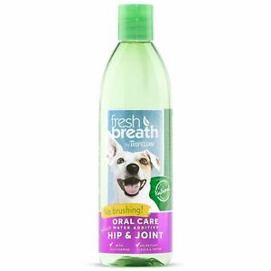 TropiClean Fresh Breath Water Additive Plus Hip Joint Oral Care Pets Dogs 473ml
