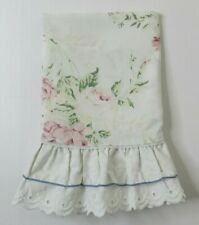 """Waverly Pillow Case Queen Pink Floral Roses 20"""" x 28"""" Ruffle Eyelet Trim Cottage"""