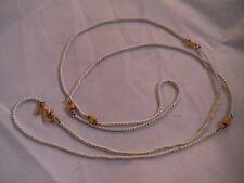 """Vintage signed Monet White Enamel Necklace 30"""" Costume Jewelry Heaven Box I"""
