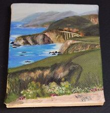"""Miniature Oil Painting by Hazel Writtaker - Pacific Coast Highway 1 - 3.25 x 4"""""""