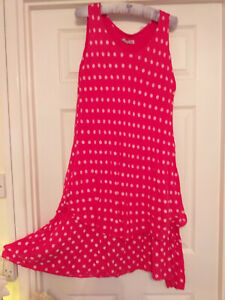"""Tiered dress size 21"""" across the bust cotton stretch pink polka dot"""
