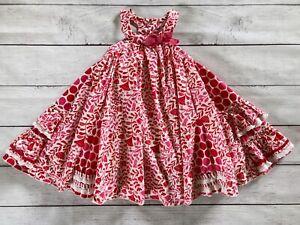 Deux Par Deux Girls Twirl Dress sz 4, red white floral sleeveless designer