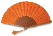 Eventail,  bois fruitier et tissu coton orange brodé au fil doré, 23x 42 cm
