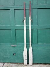 "GREAT Old Wooden Set 78"" Oars Paddles With RED and Offwhite Finish + Oarlocks"