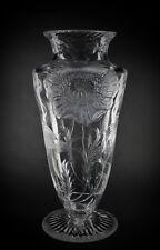 Large Antique Stourbridge Stevens & Williams Rock Crystal Glass Poppy Vase