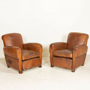 Pair, Vintage Leather Club Chairs from France