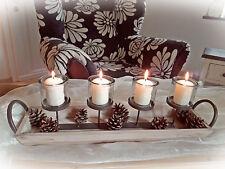 ❀ Edler Kerzenhalter Lang Holz 63cm Kerzentablett Leiste Advent Leuchter #