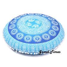 "Blue Throw Decorative Floor Pillow Cushion Cover Mandala- 32"""