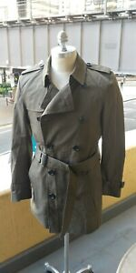 BURBERRY Double-Breasted Trench Coat Jacket M L Olive Green classic 48 Med Large