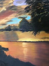 Highwaymen Style Vintage Swamp Sunset Painting Signed Shirley Berry