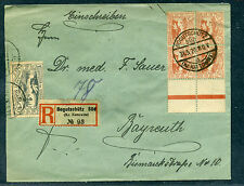 Oberschlesien schöner R-Brief von BOGOTSCHÜTZ SÜD mit AK-Stempel Mi# 22 usw.