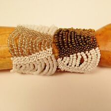 Set of 2 Pearl White Gold Multi Strand Handmade Swag Stretch Seed Bead Bracelets