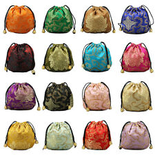 US 16~32 Silk Brocade Jewelry Pouch Bag Drawstring Coin Purse Gift Bag Value Set