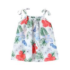 2-3Y white Summer Girls dresses sleeveless baby Kids Girl Vest dress Sling dress
