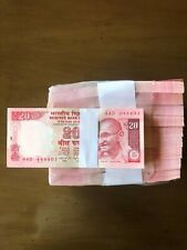 Rs. 20 FANCY 999 NOTES RIM REAM 2015 44D 444001 TO 444500 (444444 NO. MISSING)