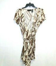 Attention womens dress size XS brown abstract print wrap front tie waist mini