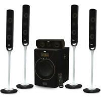 """Acoustic Audio AAT2000 Tower 5.1 Bluetooth Home Speaker System w/ 8"""" Powered Sub"""