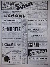 PRINT ADS 1933 L'HIVER EN SUISSE LES CRISONS SKI - PUBLICITÉ FRENCH ADVERTISING