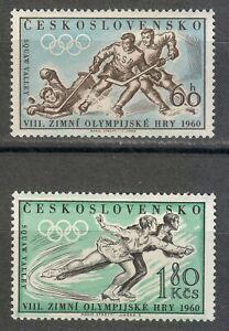 Czechoslovakia 1960 MNH Mi 1183-1184 Sc 965-966 Ice Hockey & Figure skaters **