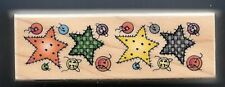 STAR PATCHES BUTTONS SEWING BORDER Style  HERO ARTS wood craft RUBBER STAMP