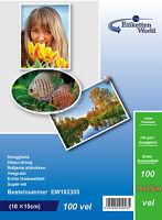 100 Sheets EtikettenWorld Glossy Photo Paper for Inkjet Printers 10x15cm 230gsm