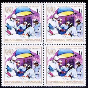 Rwanda 1972 MNH No gum Blk of 4, Medicine, Operation Theater, Anti Racism (E8n)