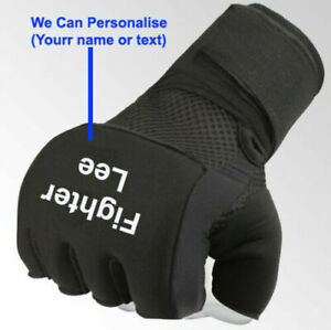 Personalised Inner Hand Quick Wraps Gloves Boxing Fist Bandages MMA Gym BLACK