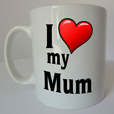 I Love My Mum Gift Mug Cup Present Mothers Day Birthday Christmas Mom Heart