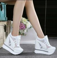 Women's Platform Canvas Wedges High Heels Sports Sneakers Creepers Sandals Shoes