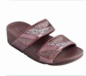 FitFlop Mina Ombre Glitter Slide Sandal Women's size 10 Eggplant Purple