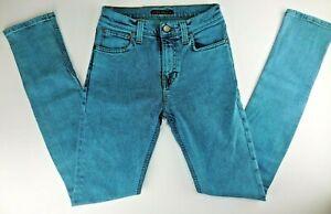 NUDIE Slim Skinny Stretch Turquoise Dyed N156 HIGH KAI BLUE SNOW Jeans W27 L32