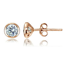 Rose Gold Tone Over Sterling Silver CZ Bezel Set Martini Set Stud Earrings