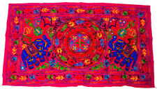 Indian Wall Hanging Wool Elephant Embroidery Throw Hippie Tapestry Suzani Pink
