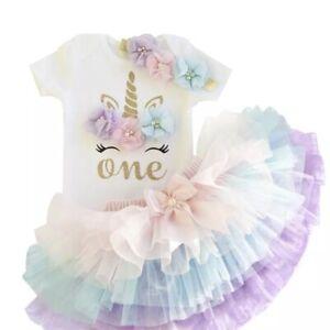 Baby Girl 1st Birthday Cake Smash Party Outfit Tutu Dress Unicorn 12M 🇬🇧