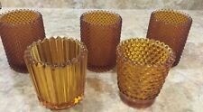 Amber Home Interior 5 Vintage Candle Holders Votives / See Descr And Pics