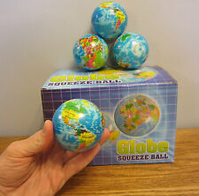 """15 NEW WORLD GLOBE STRESS RELIEF BALLS 3"""" FOAM HAND THERAPY SQUEEZE TOY BALL"""