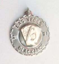 Blackjack w/3-D Blackjack Cards Charm Vintage Sasco Sterling Las Vegas