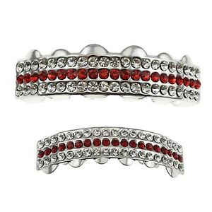 Red & White Grillz Three Row Iced Top & Bottom Teeth Bling Out Hip Hop Grill Set