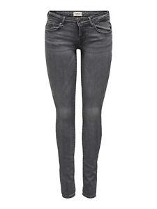 ONLY Damen Hüft Jeans Hose onlCORAL LIFE SL SKINNY BB AZ443 superlow denim grau