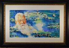 """Outstanding Original Watercolor, """"Homage to Claude Monet"""" Monet in Lilly Pads!!"""
