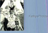 FOUND B&W PHOTO K_1603 INDIAN BOY MAKING FACE BY TEEPEE