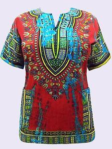 NEW EAONPLUS RED MULTI COTTON dashiki boho kaftan top in rich colours 16 to 28